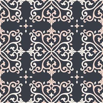 ダマスク織のシームレスなパターン背景の金と黒のタイルテクスチャ