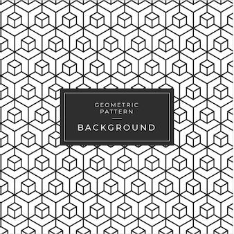 キューブと幾何学的な白黒パターン