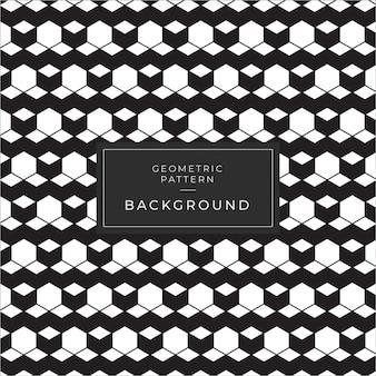 立方体と幾何学的な白黒パターン