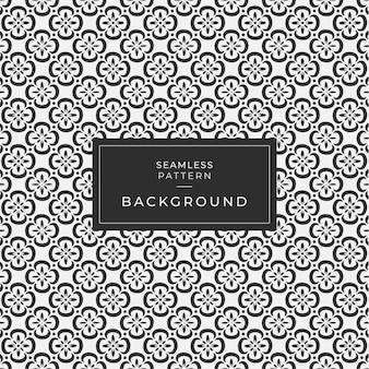 Современный бесшовный геометрический рисунок цветка, черно-белый