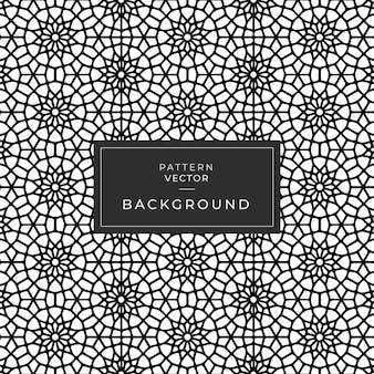 幾何学的なシームレスパターンマンダラフラワーサークル黒と白
