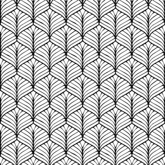 パターンデザインの幾何学的なシームレスな和風背景黒と白