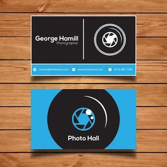 ブルーの写真ビジネスカード