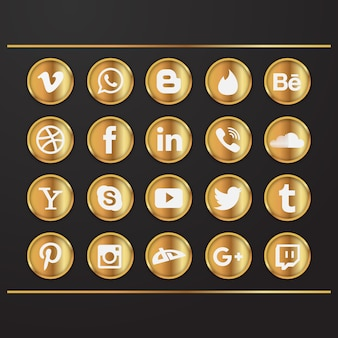 Золотые иконки социальных медиа