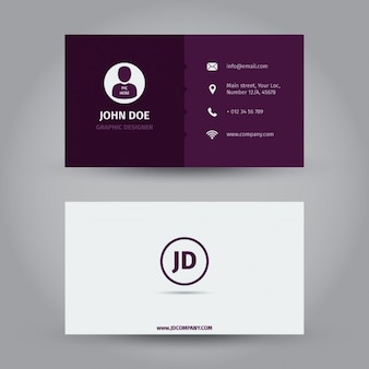 Фиолетовый дизайн визитной карточки