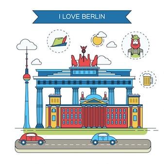 Берлин плоская иллюстрация