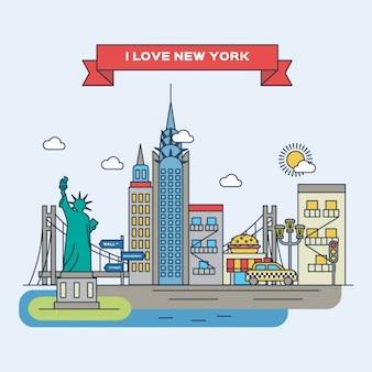 Нью-йорк плоская иллюстрация