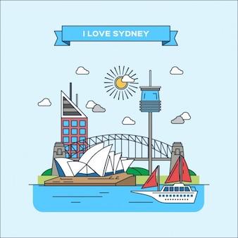 Сидней плоская иллюстрация
