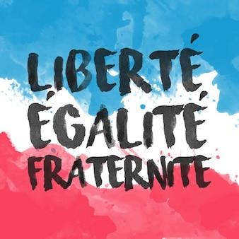 スローガンと水彩画フランス国旗