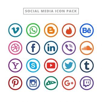 Плоский логотип коллекции социальных медиа
