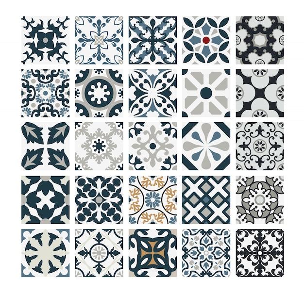 Плитки португальские узоры старинный бесшовный дизайн в винтажном стиле