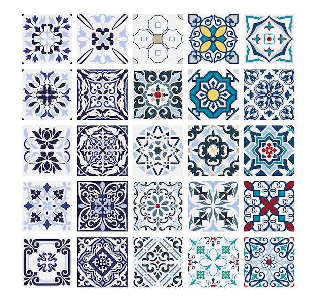 タイルポルトガルパターンアンティークシームレスデザインベクトルイラストヴィンテージで