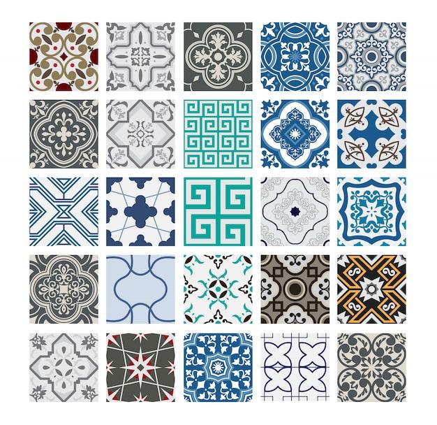 ビンテージタイルポルトガルパターンアンティークシームレスデザインのベクトル図