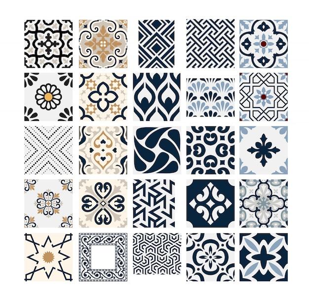 Старинные плитки португальские узоры античный бесшовные дизайн в векторные иллюстрации
