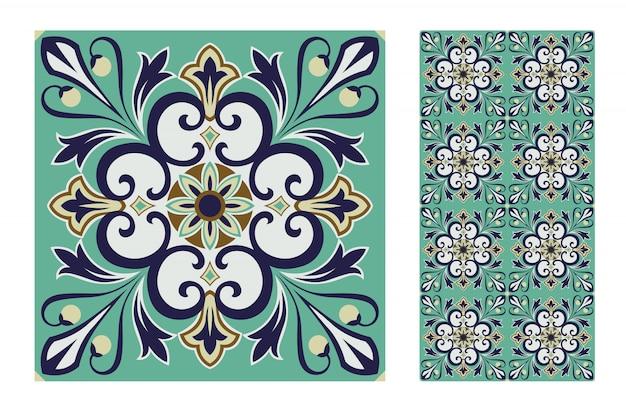 Плитка португальские узоры старинный бесшовный дизайн