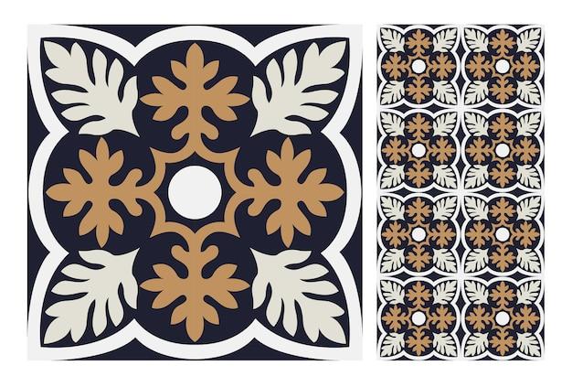 Старинные плитки португальского античного бесшовные модели