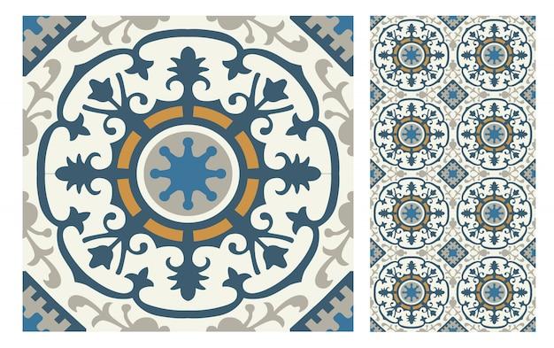 Старинные образцы плиток старинный бесшовный дизайн