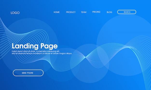 ブルー抽象的なモダンなランディングページのデザイン