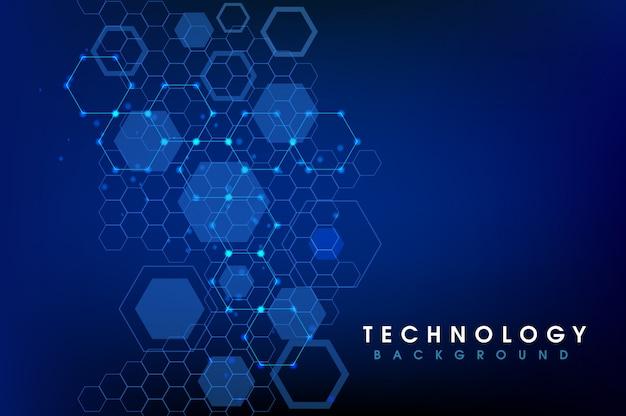 デジタル六角形と抽象的な青い背景