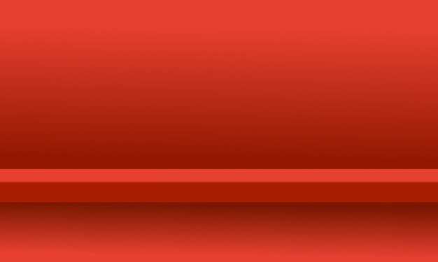 Яркий красный цвет студии фон шельфа комната с дисплеем продукта