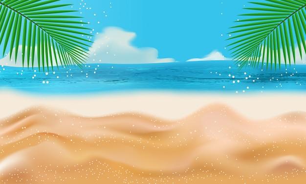 Летний пляж с солнцем, пальмами и небом