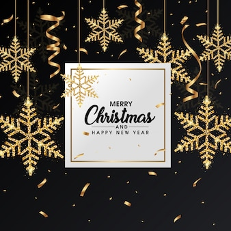 Рождественская открытка с золотыми снежинками