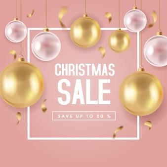 Симпатичные рождественские продажи баннер шаблон