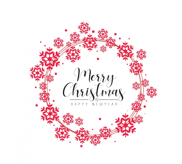 雪のメリークリスマスと幸せな新年のグリーティングカード