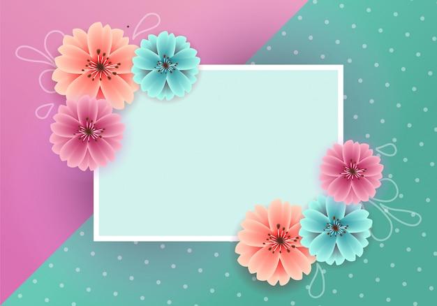 Красивые весенние красочные цветы с пустым знаменем
