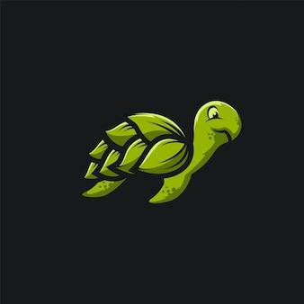 Зеленый лист черепаха логотип иллюстрационная