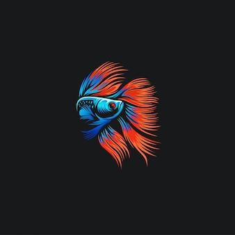 Бетта рыба логотип иллюстрационная