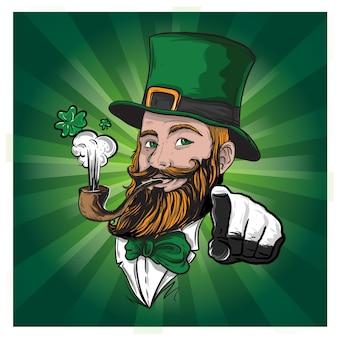 あごひげを生やしたアイルランド人聖パトリック