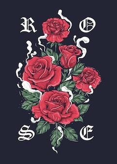 Иллюстрация красных роз с листьями