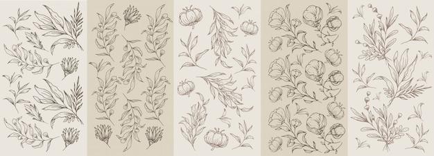 花と植物の手描きのシームレスな古典的な茶色ビンテージパターン