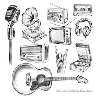Набор музыкальных инструментов и набор элементов, эскизы для рисования от руки