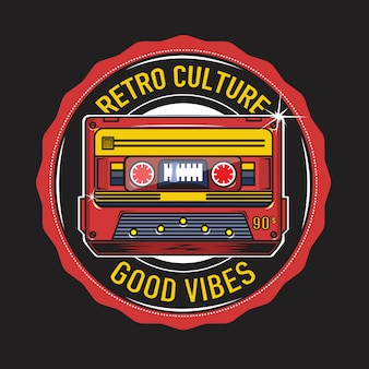 Ретро культура с иллюстрацией кассеты ленты