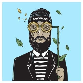 Бородатый мужчина в солнцезащитных очках