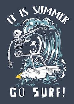 Скелет, занимающийся серфингом на волне