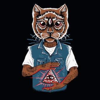 猫の顔が刺青の文字を照らす