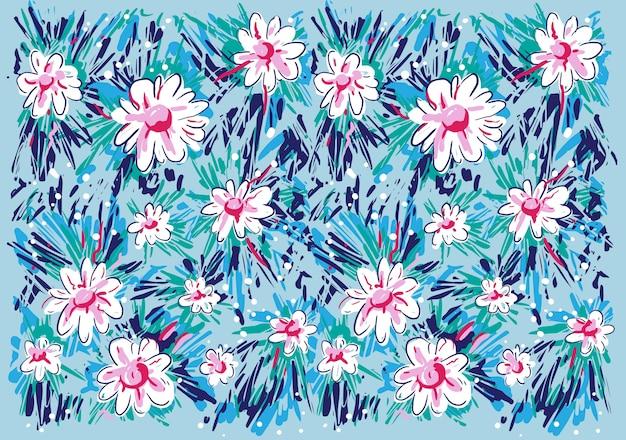 抽象的な花の背景の子供たちの絵