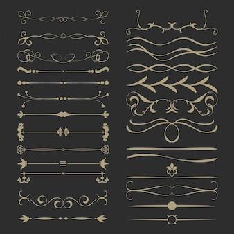 Набор старинных каллиграфических разделителей страниц