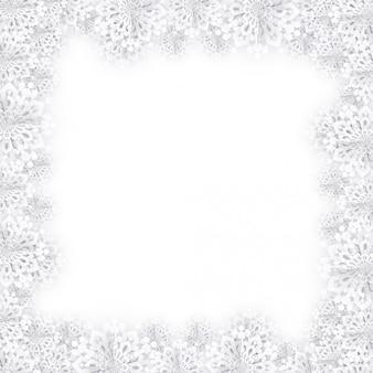 Новогодний фон из снежинок белой бумаги