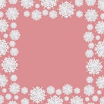 Рождественская бумага снежинки фон рамки
