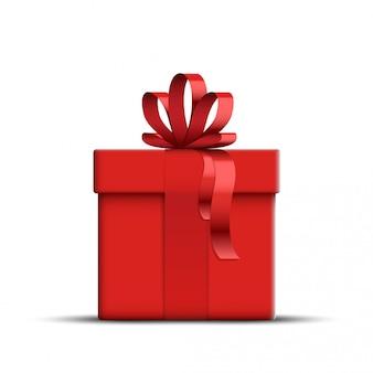 Реалистичная красная подарочная коробка