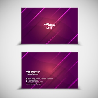 Фиолетовый шаблон визитной карточки