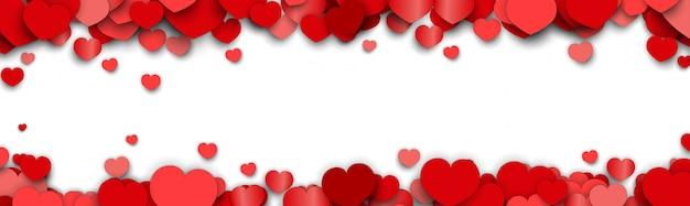 バレンタインデーバナー背景にハートのステッカーが散在