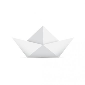 Светло-серая бумажная лодка оригами