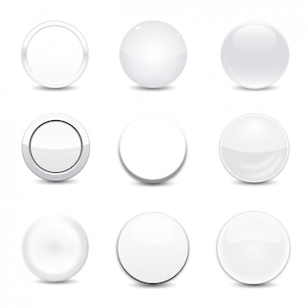 ホワイト丸いボタンのセット