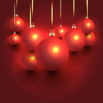 赤いクリスマスボールの背景デザイン