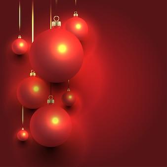 クリスマスの背景のデザインとボール